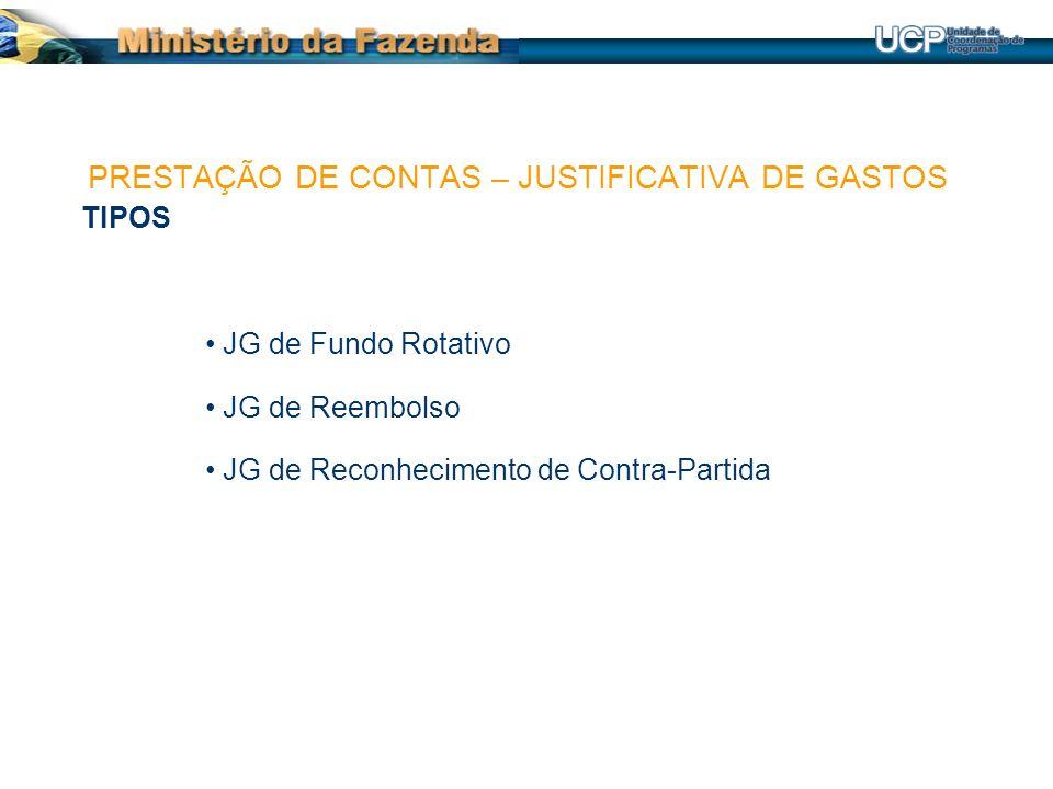 TIPOS JG de Fundo Rotativo JG de Reembolso JG de Reconhecimento de Contra-Partida PRESTAÇÃO DE CONTAS – JUSTIFICATIVA DE GASTOS