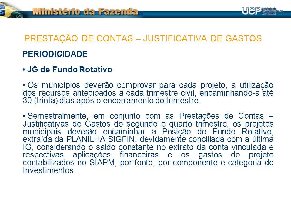 PERIODICIDADE JG de Fundo Rotativo Os municípios deverão comprovar para cada projeto, a utilização dos recursos antecipados a cada trimestre civil, en