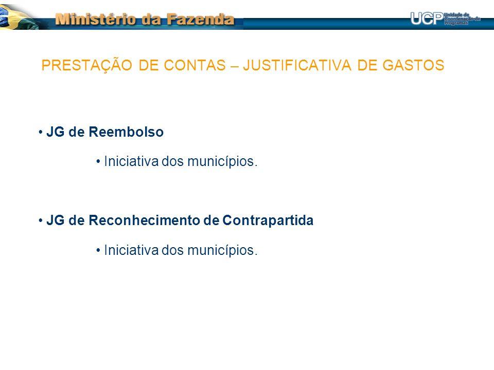 JG de Reembolso Iniciativa dos municípios. JG de Reconhecimento de Contrapartida Iniciativa dos municípios. PRESTAÇÃO DE CONTAS – JUSTIFICATIVA DE GAS