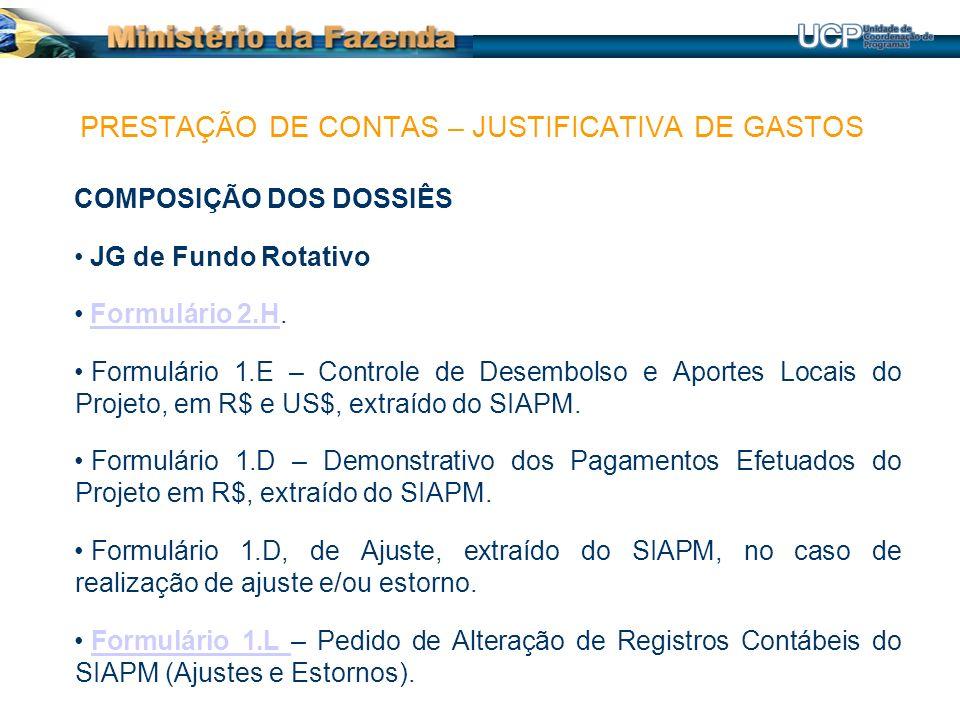 COMPOSIÇÃO DOS DOSSIÊS JG de Fundo Rotativo Formulário 2.H.Formulário 2.H Formulário 1.E – Controle de Desembolso e Aportes Locais do Projeto, em R$ e