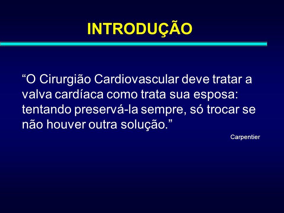 INTRODUÇÃO O Cirurgião Cardiovascular deve tratar a valva cardíaca como trata sua esposa: tentando preservá-la sempre, só trocar se não houver outra s