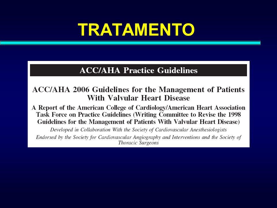 ESTENOSE MITRAL Classe IIa: –TVMi é aceitável em pacientes com estenose mitral severa e hipertensão pulmonar importante (PSAP > 60mmHg) em CF I ou II, que não sejam candidatos à valvoplastia percutânea ou cirúrgica.