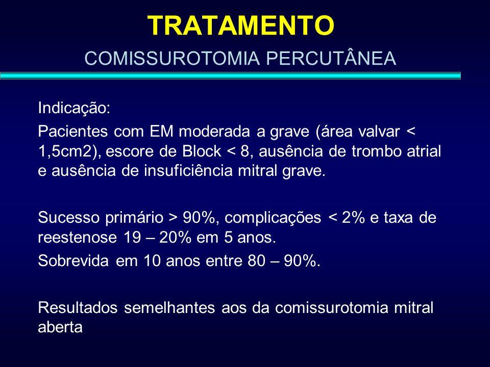 TRATAMENTO COMISSUROTOMIA PERCUTÂNEA Indicação: Pacientes com EM moderada a grave (área valvar < 1,5cm2), escore de Block < 8, ausência de trombo atri