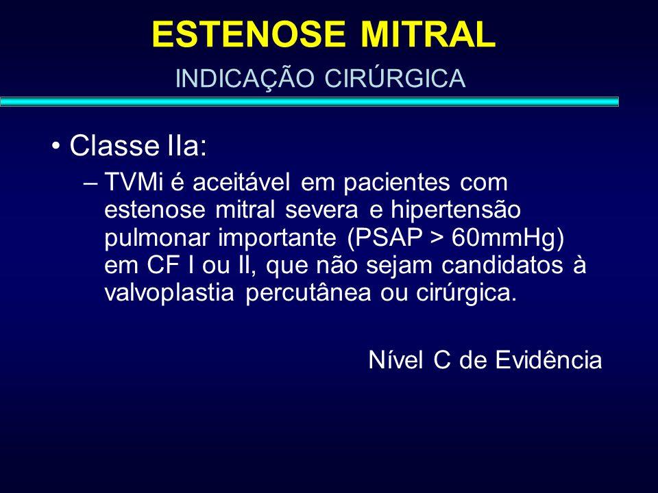 ESTENOSE MITRAL Classe IIa: –TVMi é aceitável em pacientes com estenose mitral severa e hipertensão pulmonar importante (PSAP > 60mmHg) em CF I ou II,