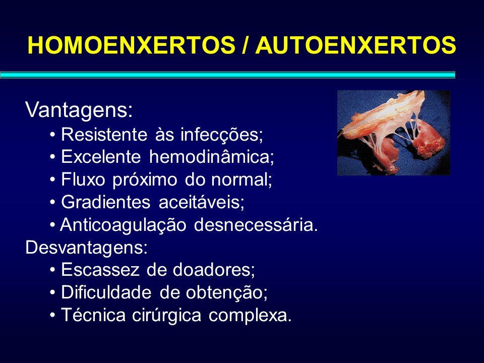 HOMOENXERTOS / AUTOENXERTOS Vantagens: Resistente às infecções; Excelente hemodinâmica; Fluxo próximo do normal; Gradientes aceitáveis; Anticoagulação