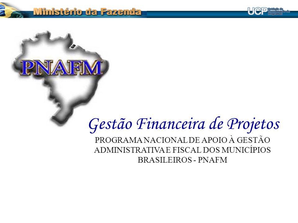 Gestão Financeira de Projetos PROGRAMA NACIONAL DE APOIO À GESTÃO ADMINISTRATIVA E FISCAL DOS MUNICÍPIOS BRASILEIROS - PNAFM