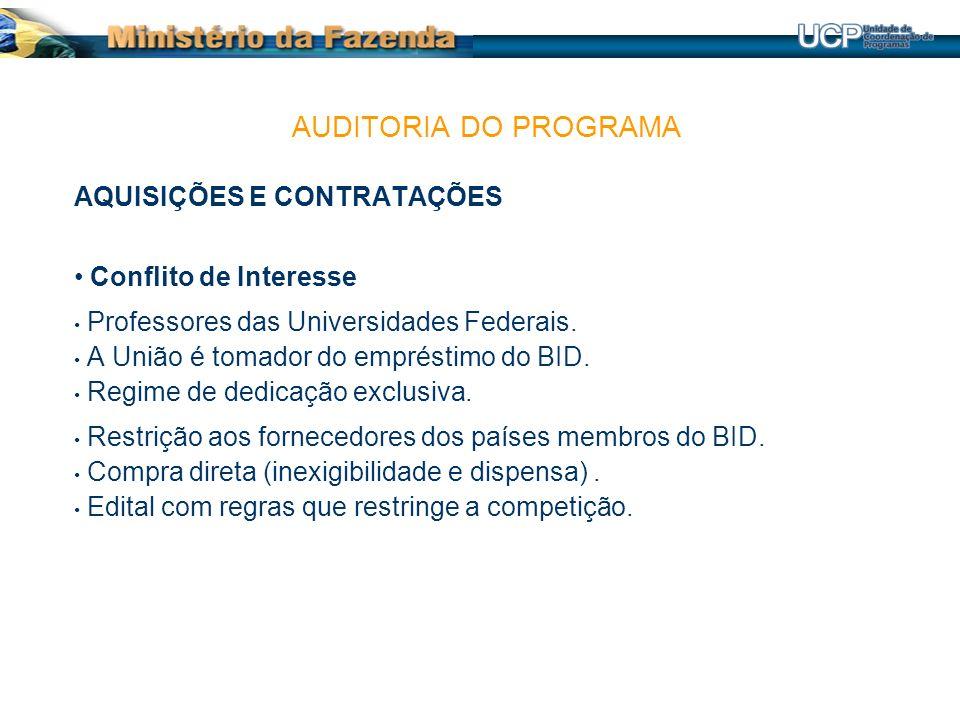 AQUISIÇÕES E CONTRATAÇÕES Conflito de Interesse Professores das Universidades Federais.