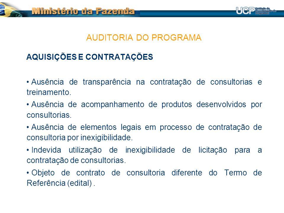 AQUISIÇÕES E CONTRATAÇÕES Ausência de transparência na contratação de consultorias e treinamento.