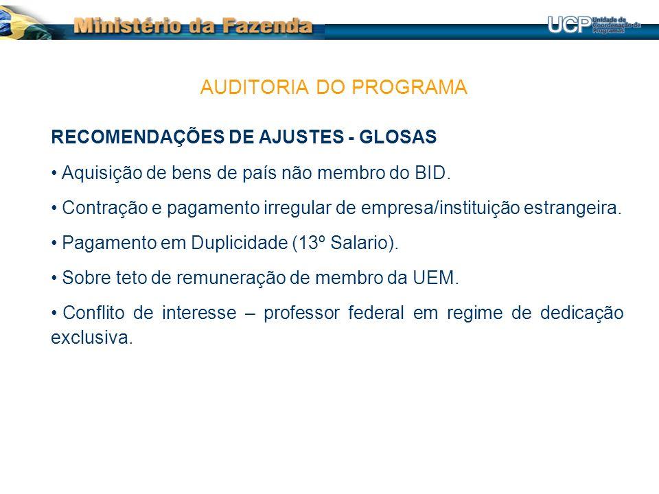 RECOMENDAÇÕES DE AJUSTES - GLOSAS Aquisição de bens de país não membro do BID.