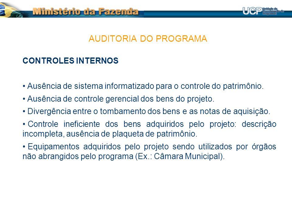 CONTROLES INTERNOS Ausência de sistema informatizado para o controle do patrimônio.