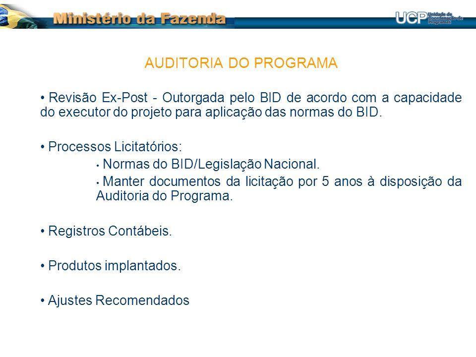 Revisão Ex-Post - Outorgada pelo BID de acordo com a capacidade do executor do projeto para aplicação das normas do BID.