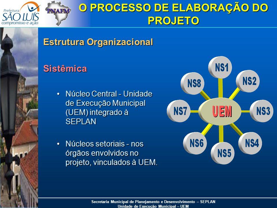 Secretaria Municipal de Planejamento e Desenvolvimento – SEPLAN Unidade de Execução Municipal – UEM O PROCESSO DE ELABORAÇÃO DO PROJETO Estrutura Orga