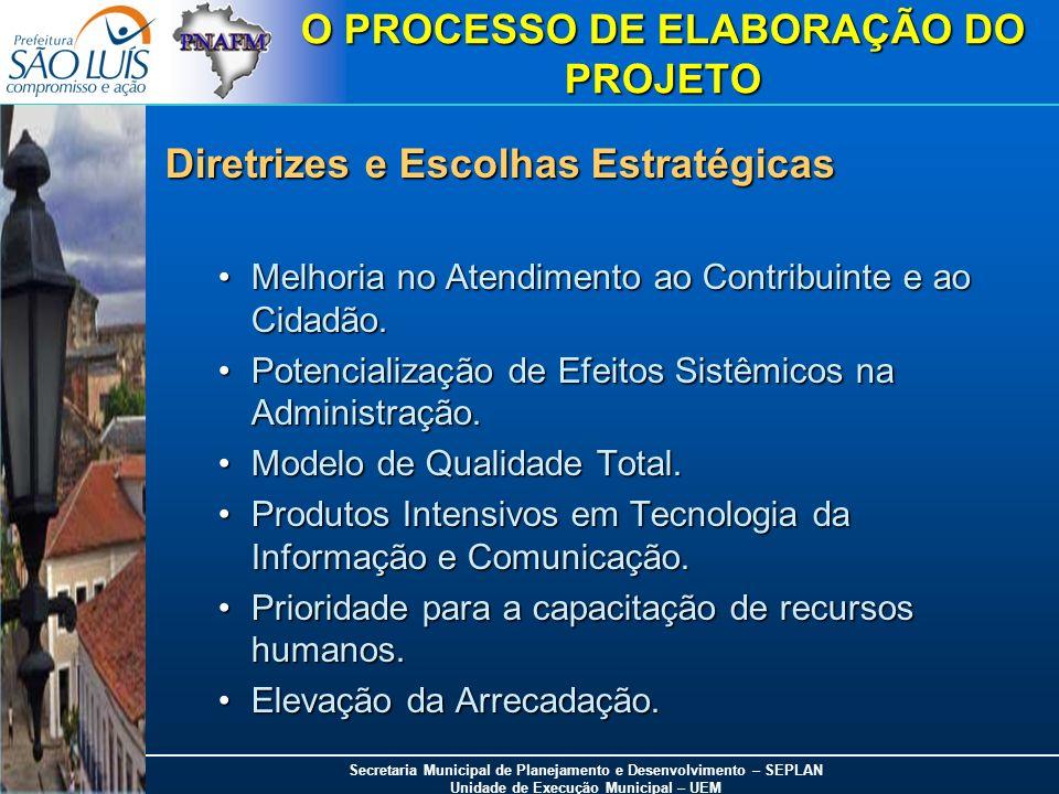 Secretaria Municipal de Planejamento e Desenvolvimento – SEPLAN Unidade de Execução Municipal – UEM O PROCESSO DE ELABORAÇÃO DO PROJETO Diretrizes e E