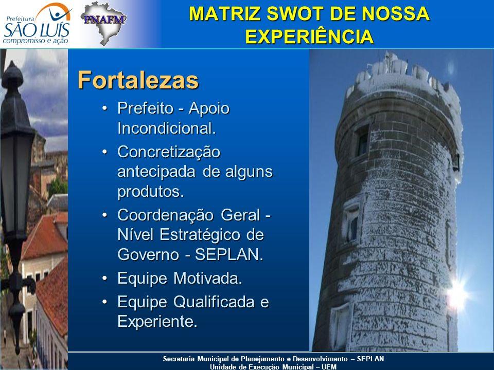 Secretaria Municipal de Planejamento e Desenvolvimento – SEPLAN Unidade de Execução Municipal – UEM MATRIZ SWOT DE NOSSA EXPERIÊNCIA Fortalezas Prefei
