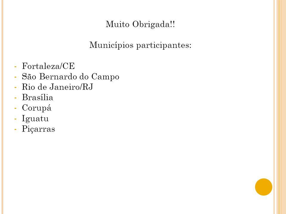 Muito Obrigada!! Municípios participantes: -Fortaleza/CE -São Bernardo do Campo -Rio de Janeiro/RJ -Brasília -Corupá -Iguatu -Piçarras