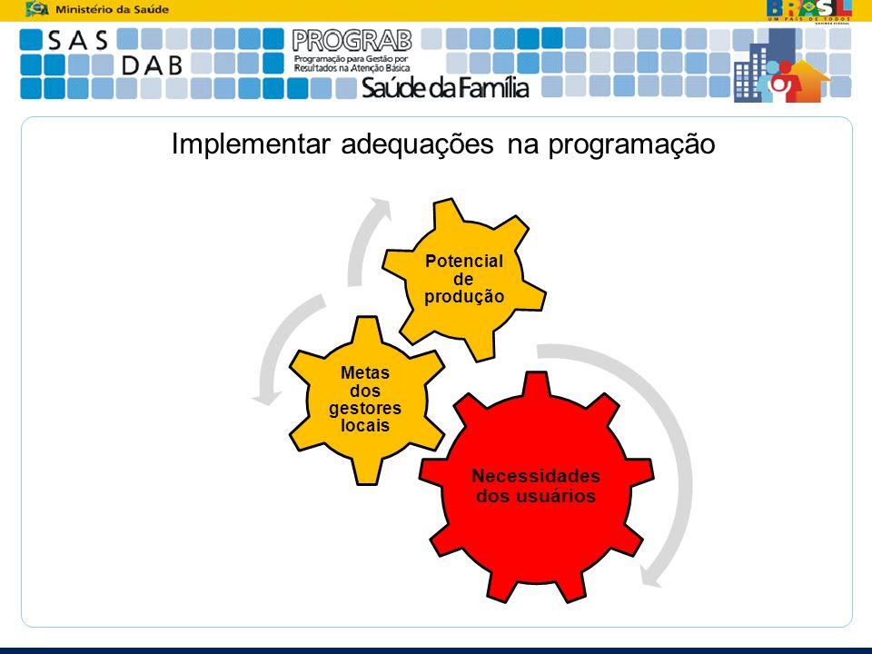 Implementar adequações na programação Necessidades dos usuários Metas dos gestores locais Potencial de produção