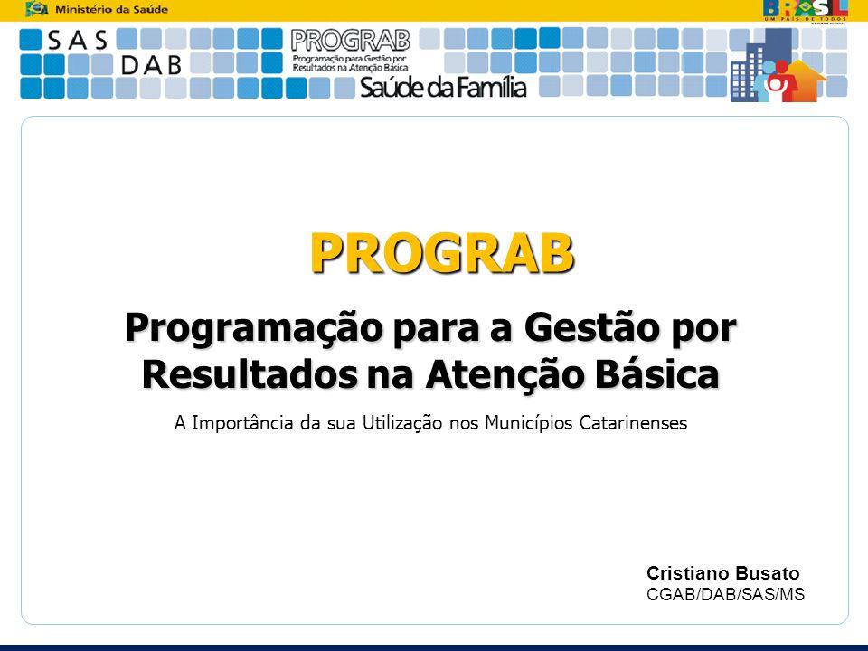 PROGRAB Programação para a Gestão por Resultados na Atenção Básica A Importância da sua Utilização nos Municípios Catarinenses Cristiano Busato CGAB/D