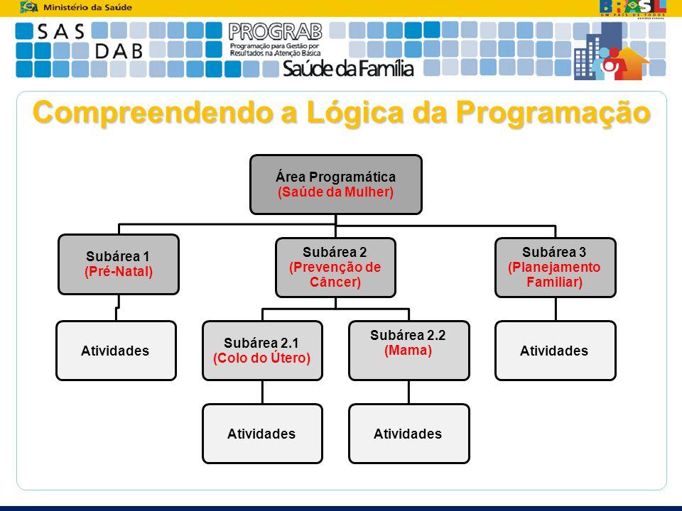 Compreendendo a Lógica da Programação Área Programática (Saúde da Mulher) Subárea 1 (Pré-Natal) Atividades Subárea 2 (Prevenção de Câncer) Subárea 2.1