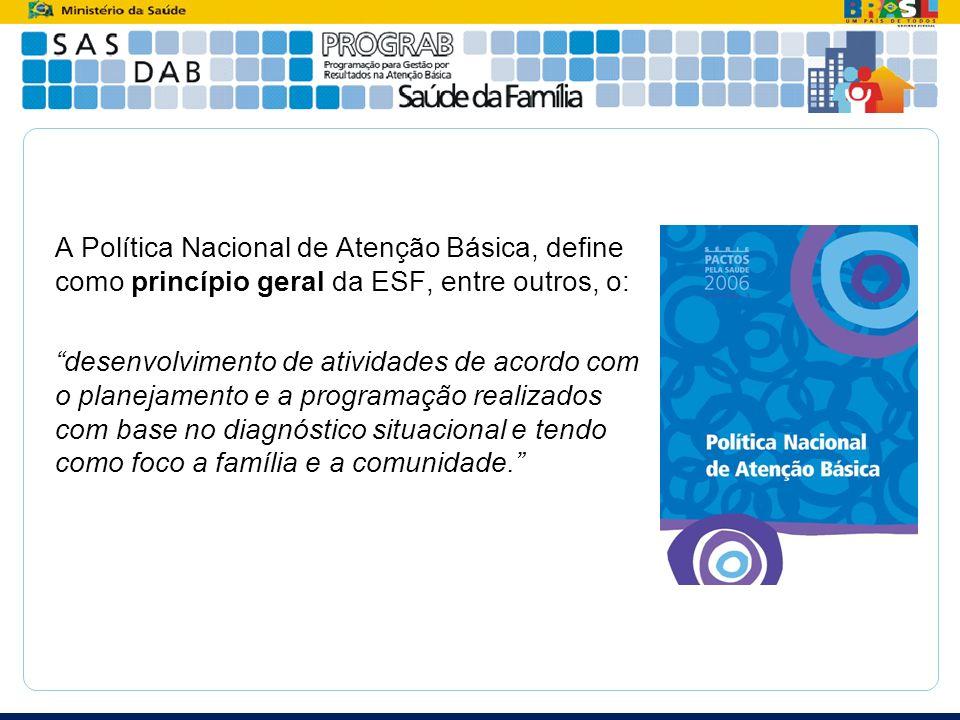 A Política Nacional de Atenção Básica, define como princípio geral da ESF, entre outros, o: desenvolvimento de atividades de acordo com o planejamento