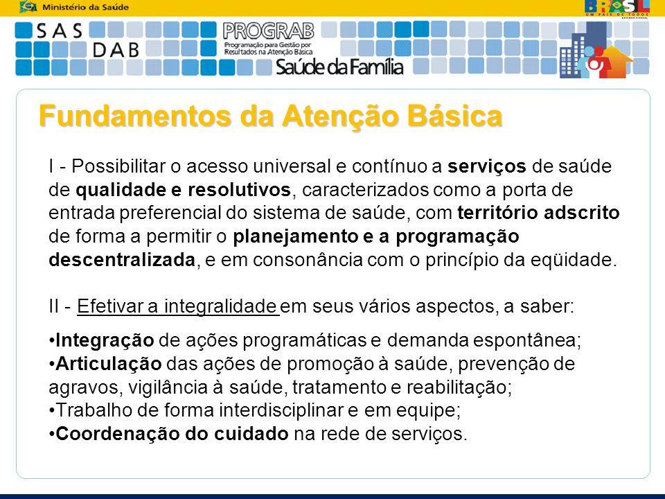 Fundamentos da Atenção Básica I - Possibilitar o acesso universal e contínuo a serviços de saúde de qualidade e resolutivos, caracterizados como a por
