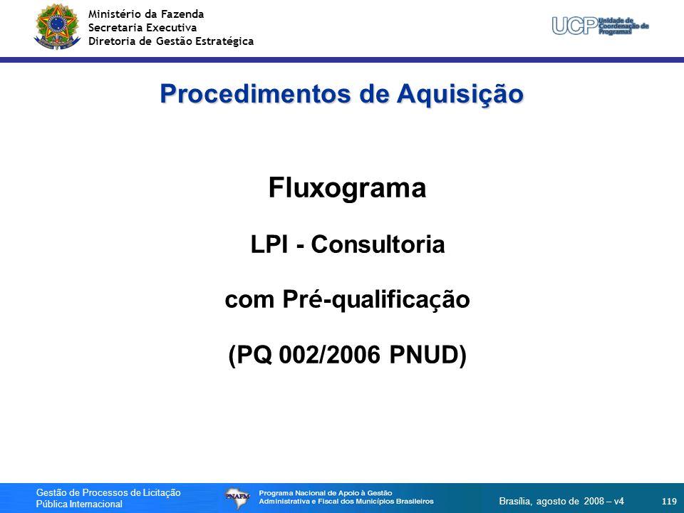 Ministério da Fazenda Secretaria Executiva Diretoria de Gestão Estratégica 119 Gestão de Processos de Licitação Pública Internacional Brasília, agosto