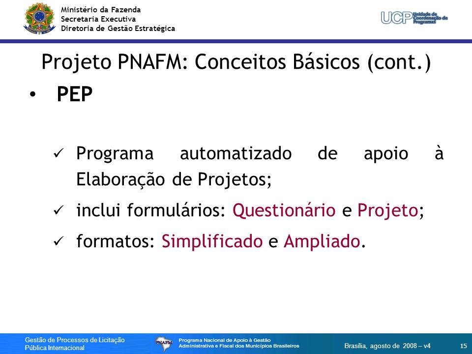 Ministério da Fazenda Secretaria Executiva Diretoria de Gestão Estratégica 15 Gestão de Processos de Licitação Pública Internacional Brasília, agosto