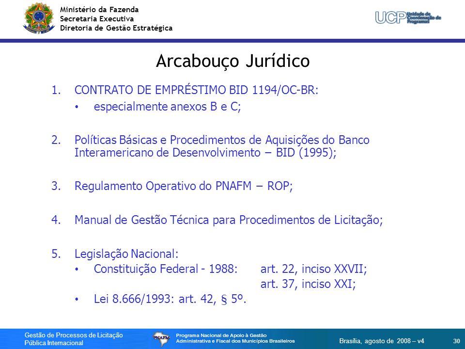 Ministério da Fazenda Secretaria Executiva Diretoria de Gestão Estratégica 30 Gestão de Processos de Licitação Pública Internacional Brasília, agosto