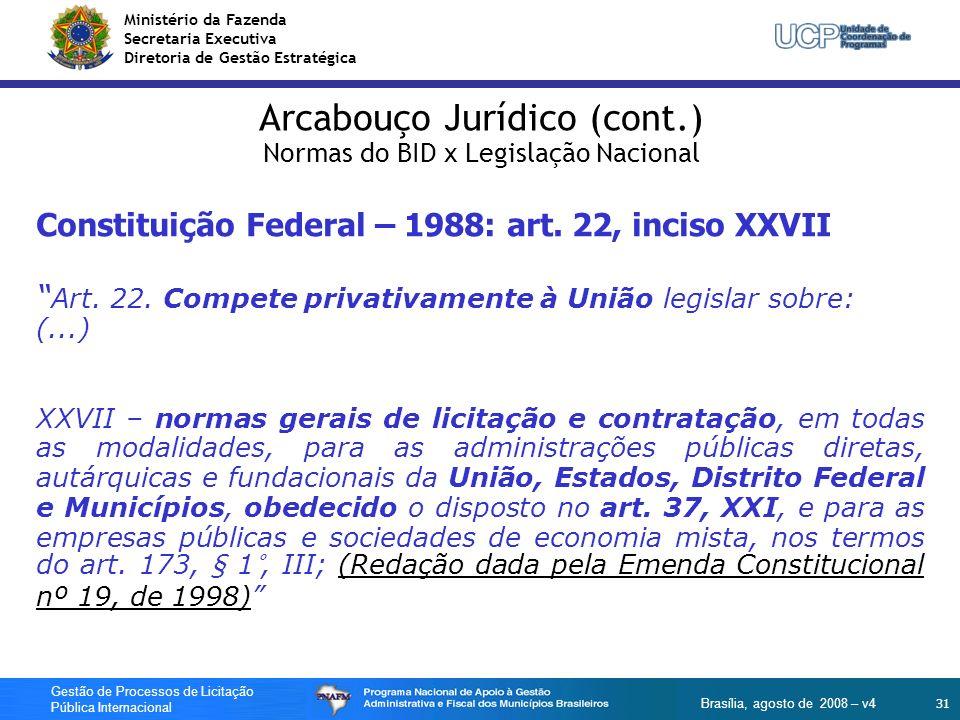 Ministério da Fazenda Secretaria Executiva Diretoria de Gestão Estratégica 31 Gestão de Processos de Licitação Pública Internacional Brasília, agosto