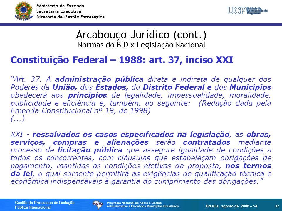 Ministério da Fazenda Secretaria Executiva Diretoria de Gestão Estratégica 32 Gestão de Processos de Licitação Pública Internacional Brasília, agosto