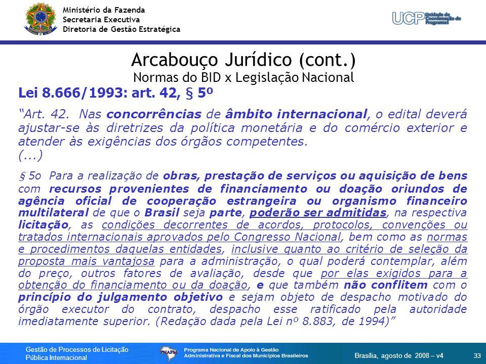 Ministério da Fazenda Secretaria Executiva Diretoria de Gestão Estratégica 33 Gestão de Processos de Licitação Pública Internacional Brasília, agosto