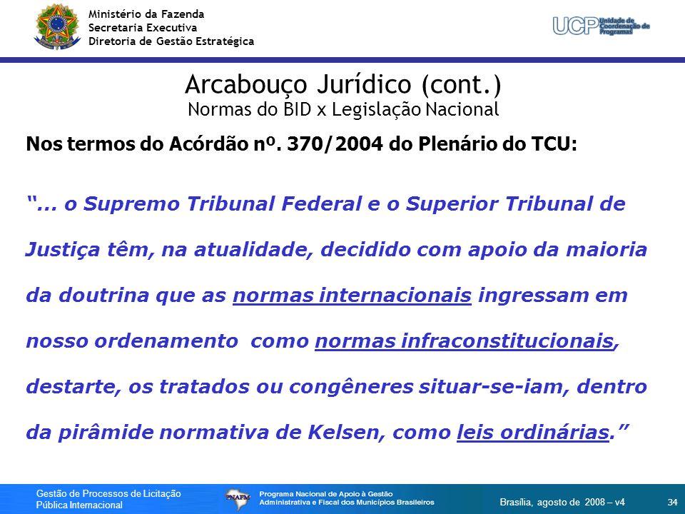 Ministério da Fazenda Secretaria Executiva Diretoria de Gestão Estratégica 34 Gestão de Processos de Licitação Pública Internacional Brasília, agosto