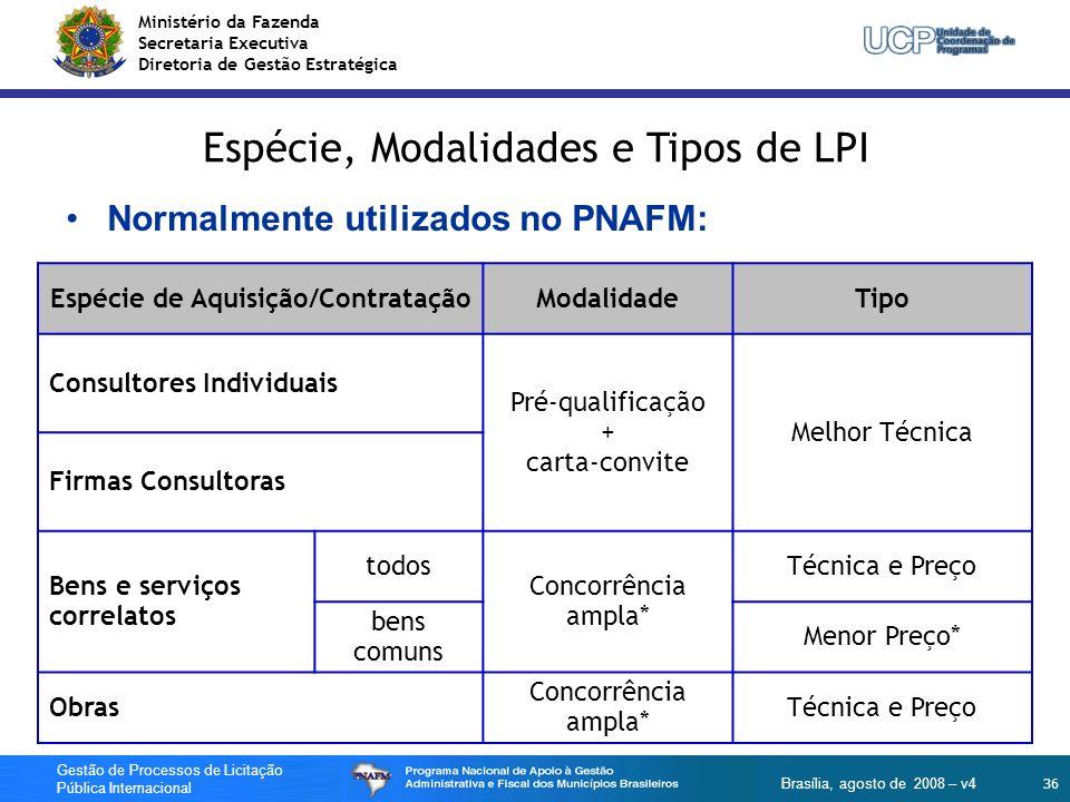 Ministério da Fazenda Secretaria Executiva Diretoria de Gestão Estratégica 36 Gestão de Processos de Licitação Pública Internacional Brasília, agosto