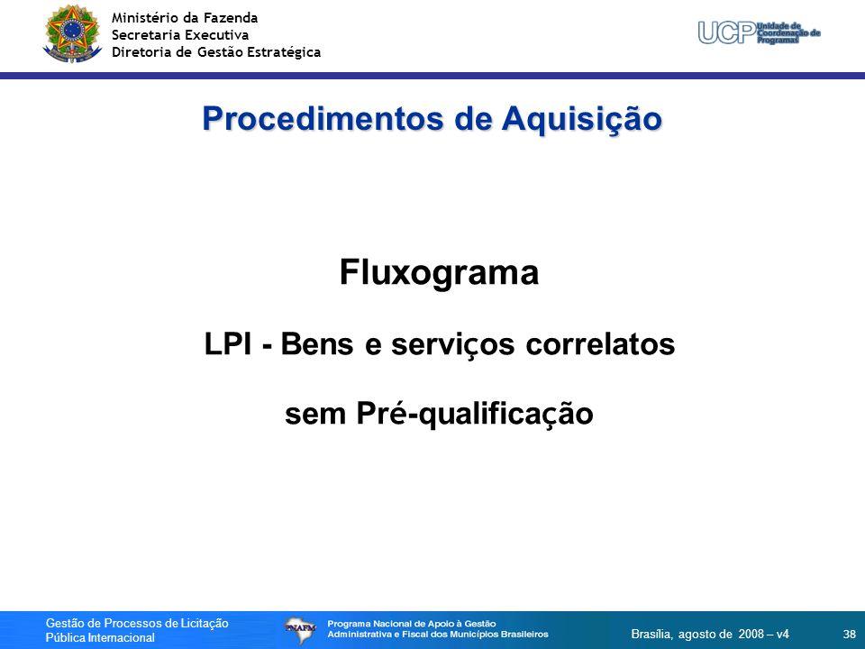 Ministério da Fazenda Secretaria Executiva Diretoria de Gestão Estratégica 38 Gestão de Processos de Licitação Pública Internacional Brasília, agosto