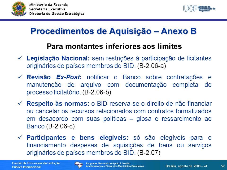 Ministério da Fazenda Secretaria Executiva Diretoria de Gestão Estratégica 52 Gestão de Processos de Licitação Pública Internacional Brasília, agosto