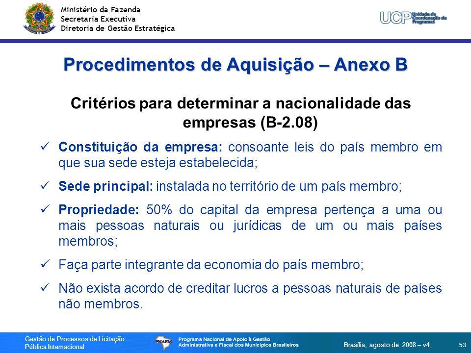Ministério da Fazenda Secretaria Executiva Diretoria de Gestão Estratégica 53 Gestão de Processos de Licitação Pública Internacional Brasília, agosto
