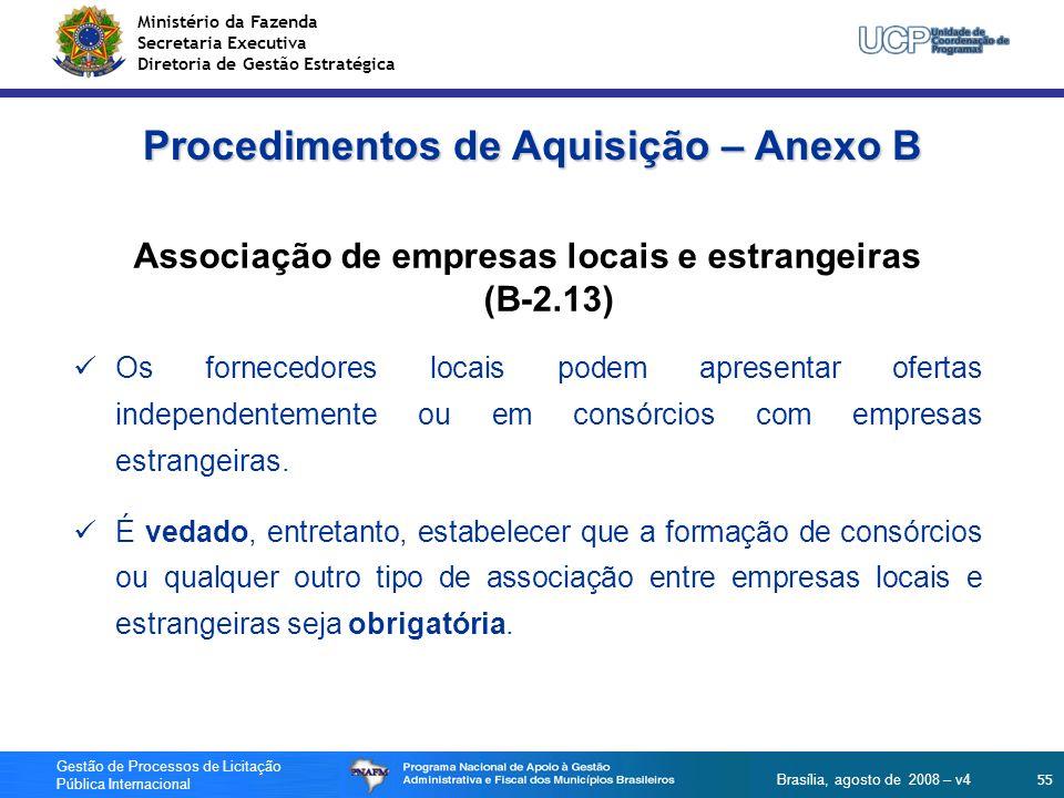Ministério da Fazenda Secretaria Executiva Diretoria de Gestão Estratégica 55 Gestão de Processos de Licitação Pública Internacional Brasília, agosto