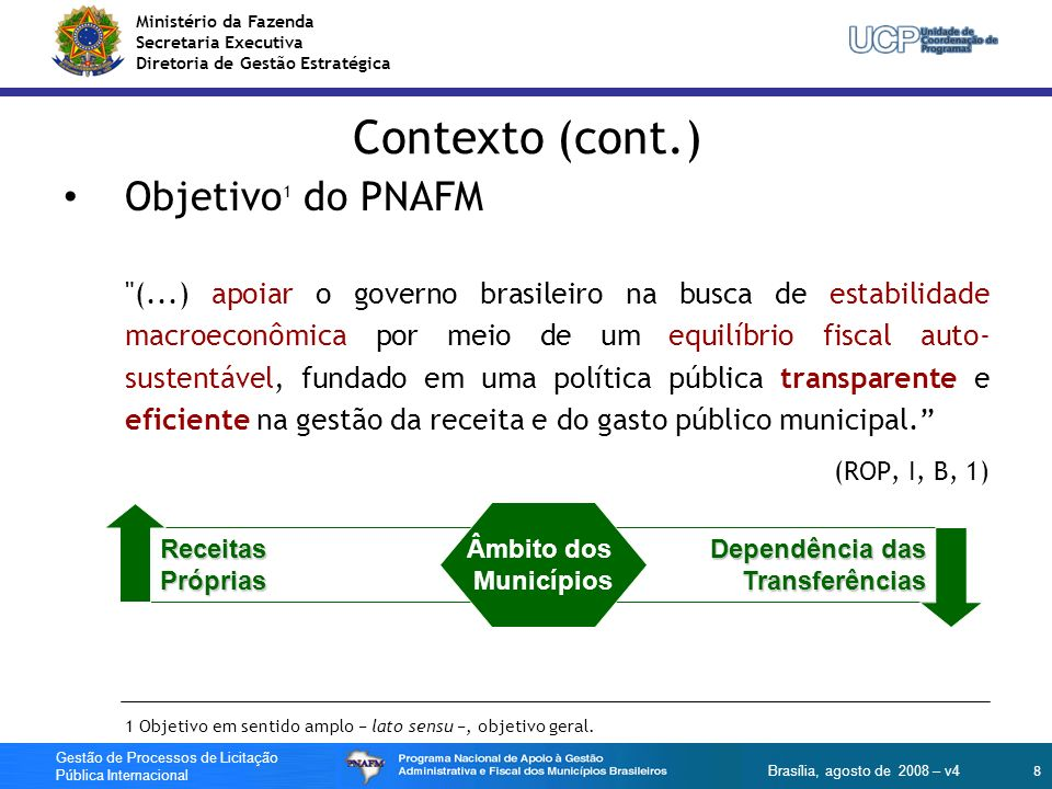 Ministério da Fazenda Secretaria Executiva Diretoria de Gestão Estratégica 59 Gestão de Processos de Licitação Pública Internacional Brasília, agosto de 2008 – v4 LPI - Publicidade Aviso Geral de Aquisições (AGA): PNAFM dispensado.