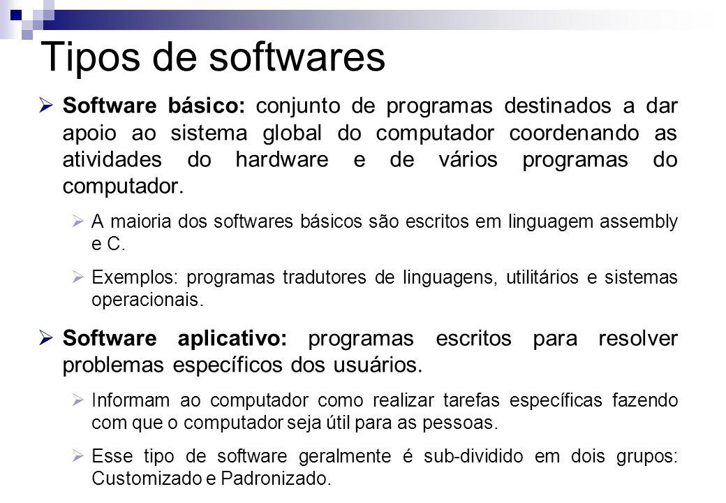 Customizado: os softwares são feitos ou encomendados a terceiros para darem solução a problemas específicos.