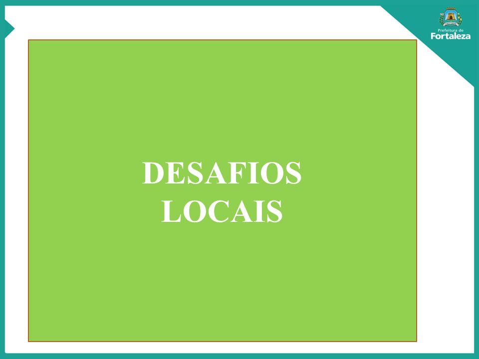 Desafios do Município de Fortaleza: Está entre as cinco cidades brasileiras no rol das 20 mais desiguais no mundo; 2,5 milhões de habitantes, 30% do contingente populacional do Estado(8,6 milhões); O PIB representa quase a metade de toda a riqueza do Estado, alcançando, em 2010, R$ 37,1 bilhões, ou 48% do PIB do Ceará(R$ 77,9 bi); No Mapeamento da Extrema Pobreza em Fortaleza; apresenta grandes conglomerados de miséria; Em 2010, ficou em 1º lugar no ranking das capitais mais densamente povoadas; Quanto ao PIB EM 2010, a capital ocupava 8ª posição dentre as demais capitais dos estados, entretanto, em relação ao PIB PER CAPITA 15ª posição.