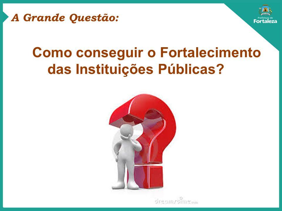 A Grande Questão: Como conseguir o Fortalecimento das Instituições Públicas?