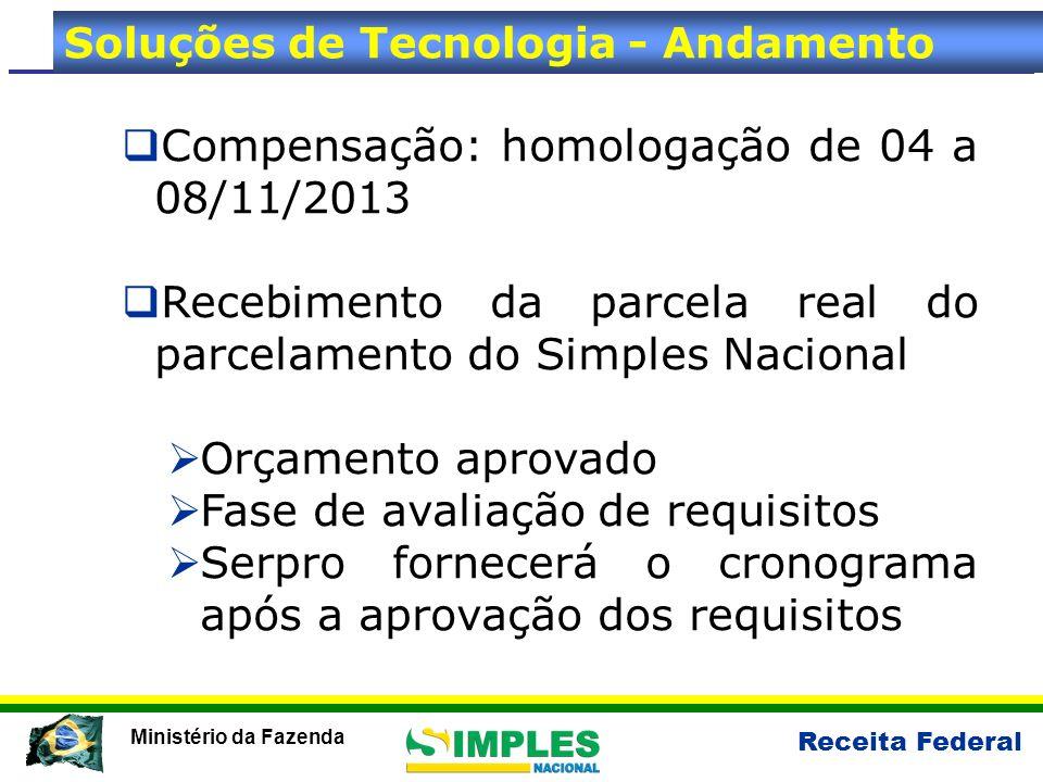 Receita Federal Ministério da Fazenda Compensação: homologação de 04 a 08/11/2013 Recebimento da parcela real do parcelamento do Simples Nacional Orça