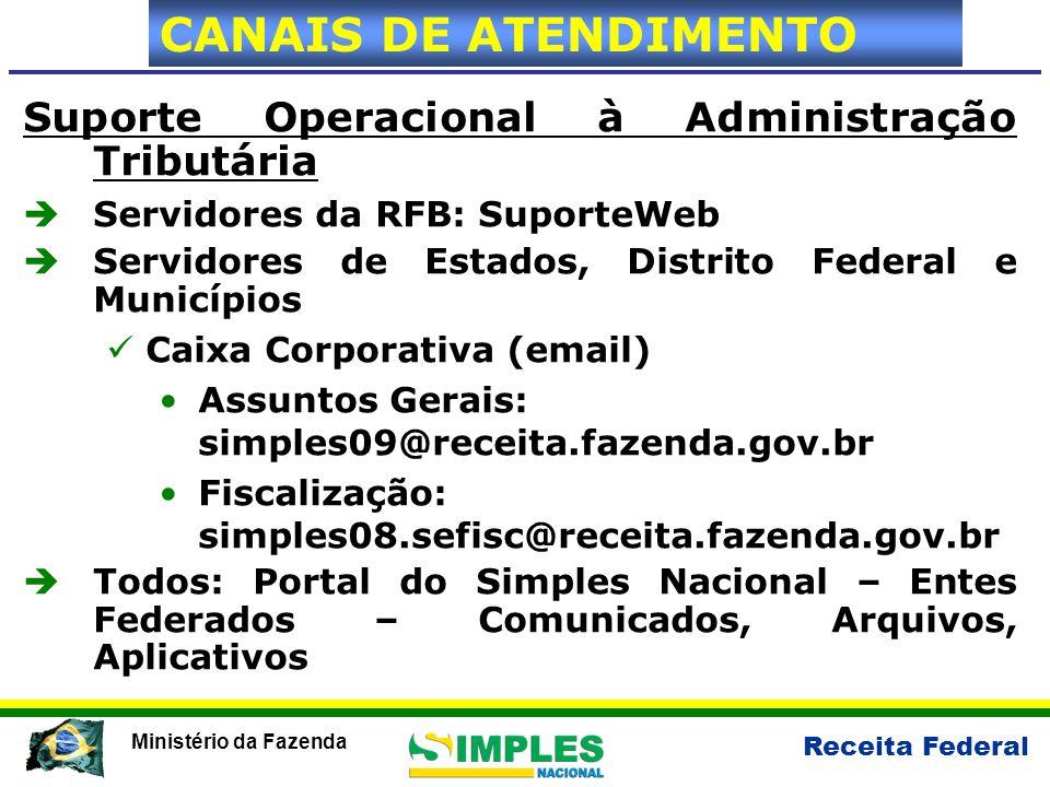 Receita Federal Ministério da Fazenda Suporte Operacional à Administração Tributária Servidores da RFB: SuporteWeb Servidores de Estados, Distrito Fed