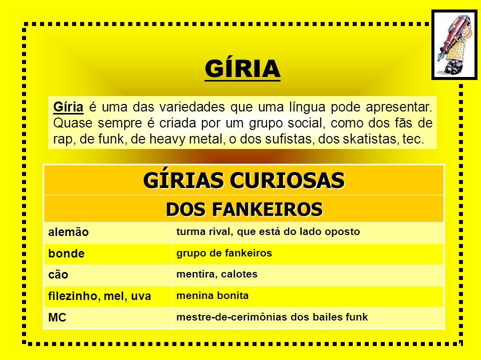 GÍRIA Gíria é uma das variedades que uma língua pode apresentar. Quase sempre é criada por um grupo social, como dos fãs de rap, de funk, de heavy met