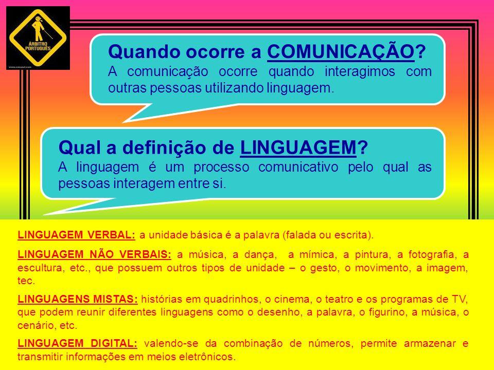 Quando ocorre a COMUNICAÇÃO? A comunicação ocorre quando interagimos com outras pessoas utilizando linguagem. Qual a definição de LINGUAGEM? A linguag