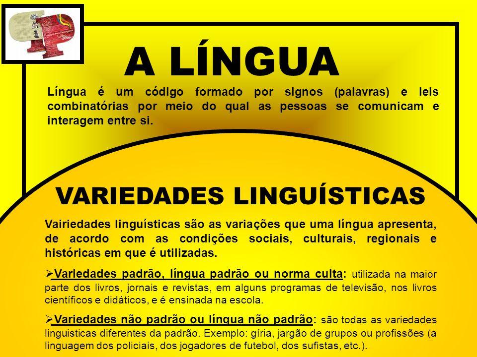A LÍNGUA Língua é um código formado por signos (palavras) e leis combinatórias por meio do qual as pessoas se comunicam e interagem entre si. VARIEDAD