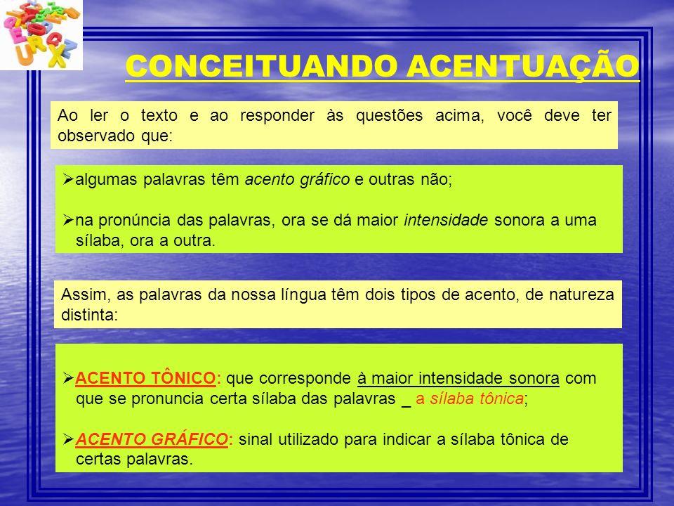 CONCEITUANDO ACENTUAÇÃO Ao ler o texto e ao responder às questões acima, você deve ter observado que: algumas palavras têm acento gráfico e outras não
