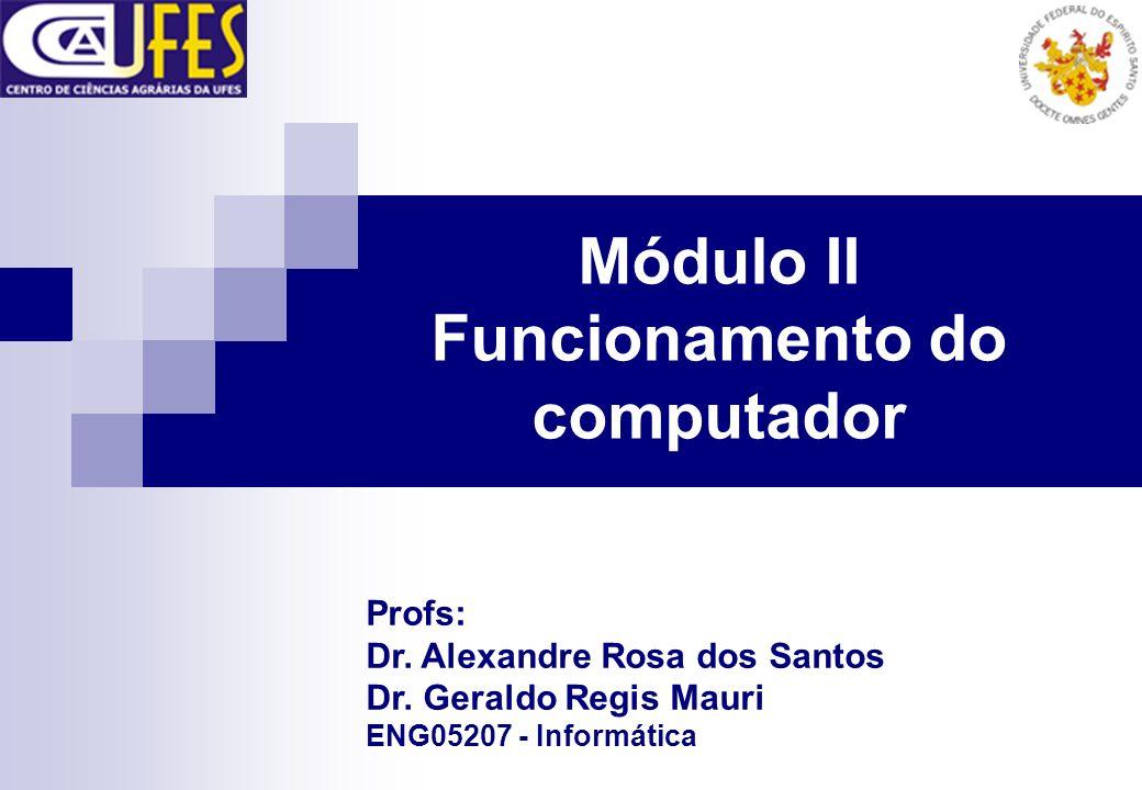 Módulo II Funcionamento do computador Profs: Dr. Alexandre Rosa dos Santos Dr. Geraldo Regis Mauri ENG05207 - Informática