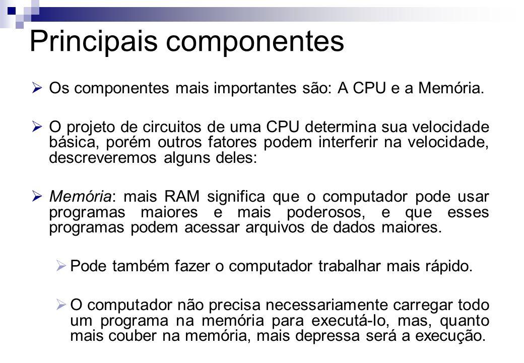 Os componentes mais importantes são: A CPU e a Memória. O projeto de circuitos de uma CPU determina sua velocidade básica, porém outros fatores podem