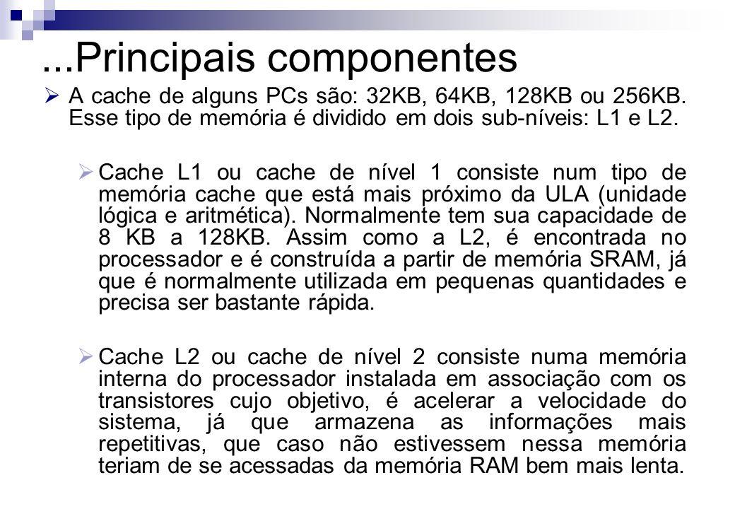 A cache de alguns PCs são: 32KB, 64KB, 128KB ou 256KB. Esse tipo de memória é dividido em dois sub-níveis: L1 e L2. Cache L1 ou cache de nível 1 consi