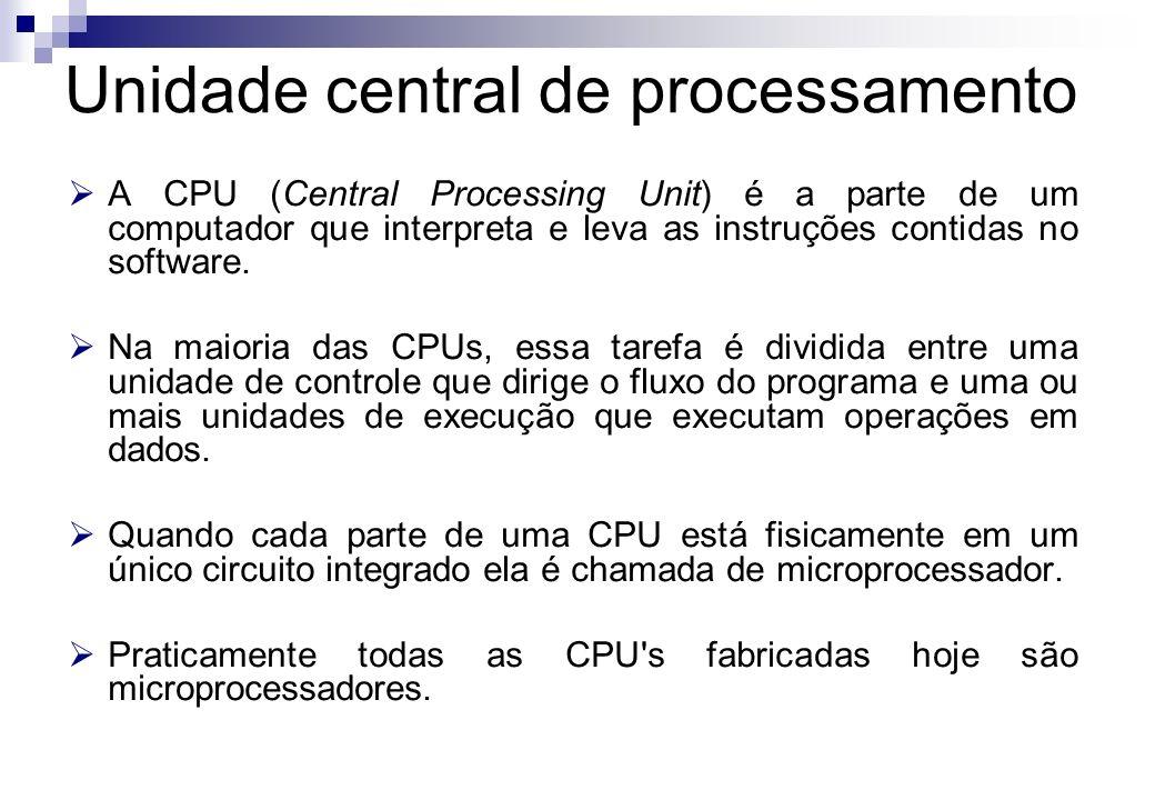 A CPU (Central Processing Unit) é a parte de um computador que interpreta e leva as instruções contidas no software. Na maioria das CPUs, essa tarefa